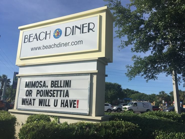 exterior sign of beach diner