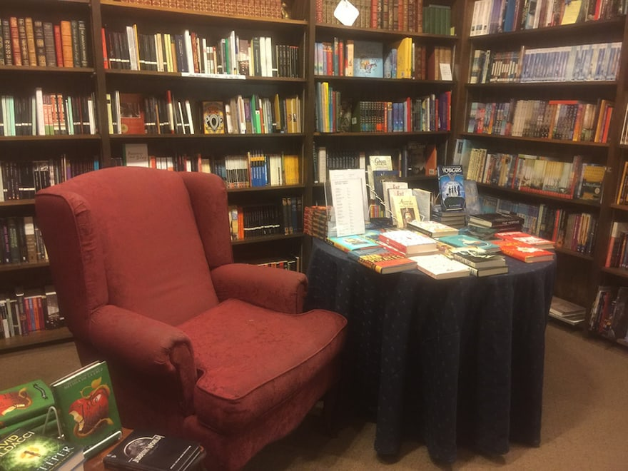 an armchair in the bookstore