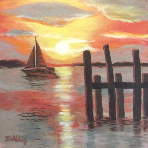 a painting of the ocean at sunset with a sailboat on the water