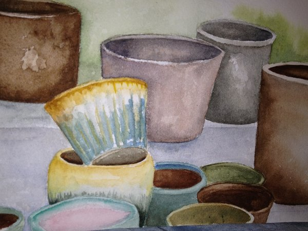 a painting of ceramic pots